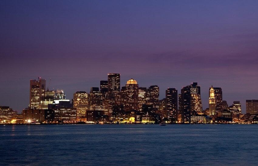 Panorama of Boston Skyline at night