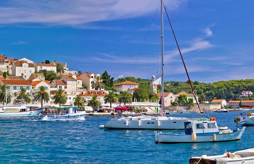 Title Yachting harbor of Hvar island